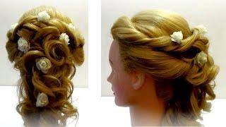 Прическа свадебная. Свадебная прическа с цветами. Wedding hairstyle(Прически на все случаи жизни http://www.youtube.com/user/LiliaLady777 Предлагаю вам коллекцию оригинальных и красивых причес..., 2014-09-17T17:47:29.000Z)