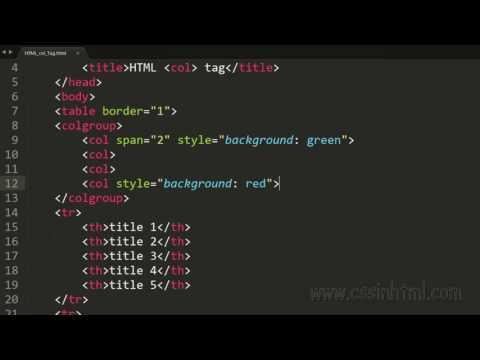 HTML Col Tag