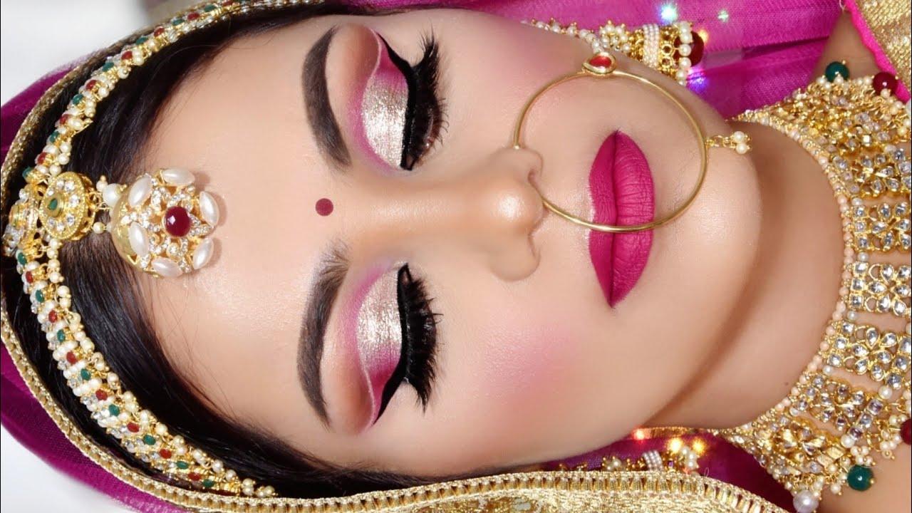 Summer Royal INDIAN BRIDAL Long Lasting Makeup Tutorial Glittery Eyes Pink Lipstick