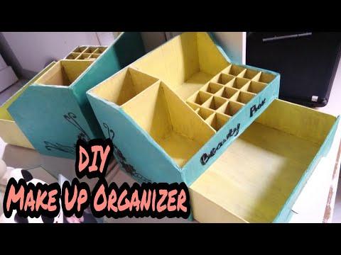 DIY makeup organizer with cardboard