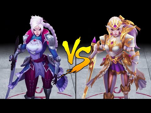 Prestige Battle Queen Diana vs Battle Queen Diana Skin Comparison Spotlight (League of Legends)