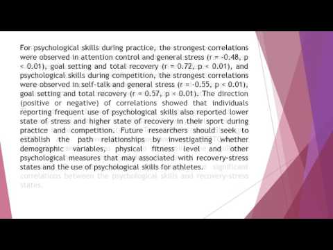 Psychological Skills during Training and Competition on Recovery Stress State among Adolescent State