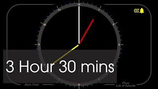 3 Hour 30 Minutes - Analog Clock Timer & Alarm - 1080p - Countdown