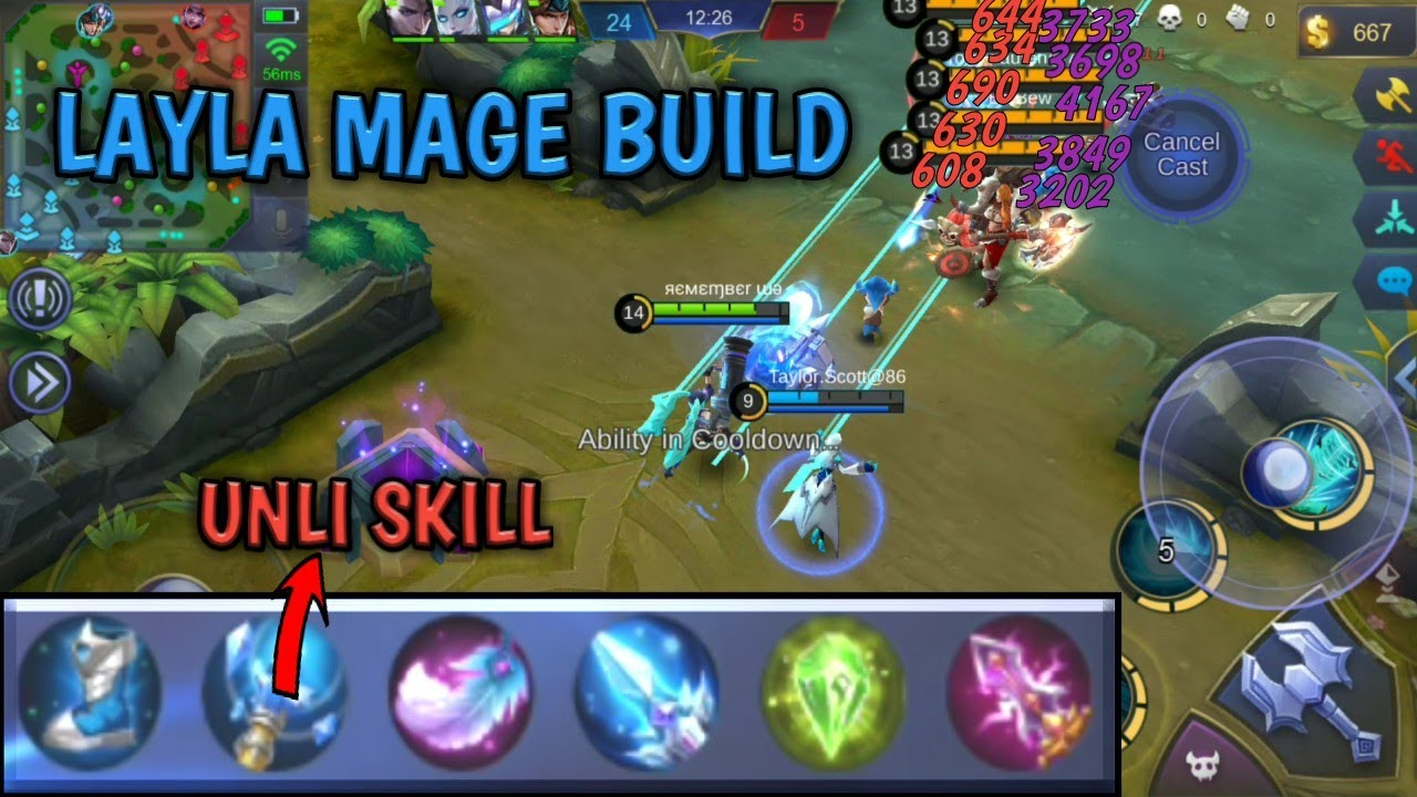 LAYLA MAGIC BUILD | UNLIMITED SKILL | MOBILE LEGENDS