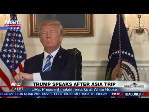 WATCH: President Trump Stops Speech For Some Fiji Water (FNN)