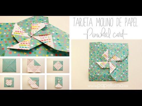 Cómo hacer una tarjeta con forma de molinillo de papel (origami ...