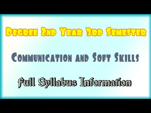Degree 2nd Year 3rd Semester Communication And Soft Skills Full Syllabus Information
