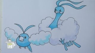 How to draw Pokemon: No. 333 Swablu, No. 334 Altaria