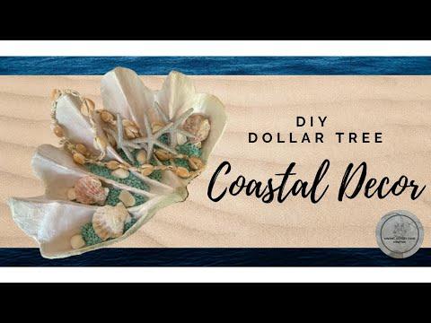 DIY Dollar Tree Coastal Decor | How To Make A Giant Clam Shell | Easy Home Decor On A Budget