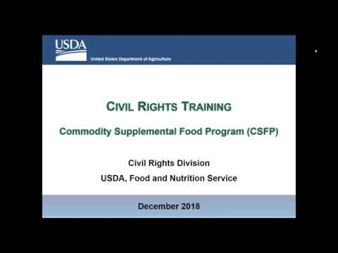 Download Yearly Civil Rights Training for all CSFP Program Partners