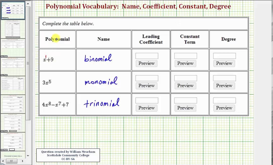 Ex Polynomial Terminology Name Coefficient Constant Degree