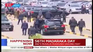 President Uhuru arrives at Narok stadium for #MadarakaDay2019