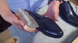 How to shine/polish exotic skin shoes ASMR