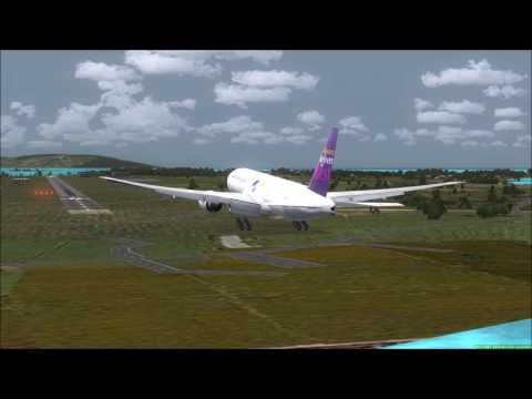 Som Tam Delivery THAI CARGO 777F landing at Samui ✈✈ FSX