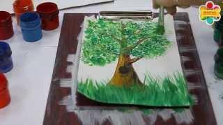 Как нарисовать дерево с нуля - техника правополушарного рисования(Как нарисовать дерево с нуля. Онлайн уроки и пошаговые мастер классы гуашью и маслом от школы рисования..., 2015-05-02T18:28:21.000Z)