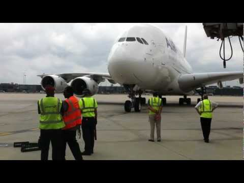 Air France A380 Pulling Into Washington Dulles International Airport [HD]