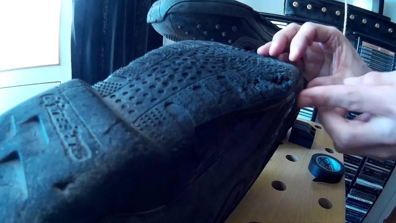 MX boot soles repaired with liquid