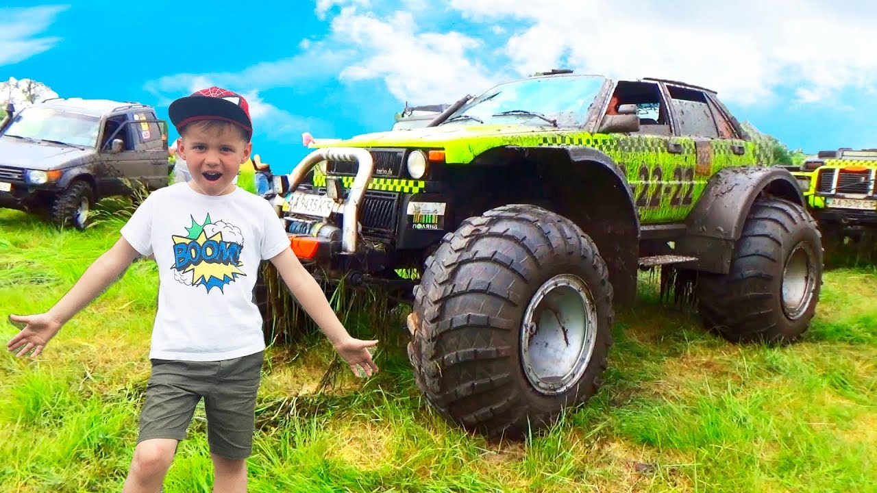 Машинки для детей Машина  застряла в грязи на помощь приехал Джип Видео для мальчиков