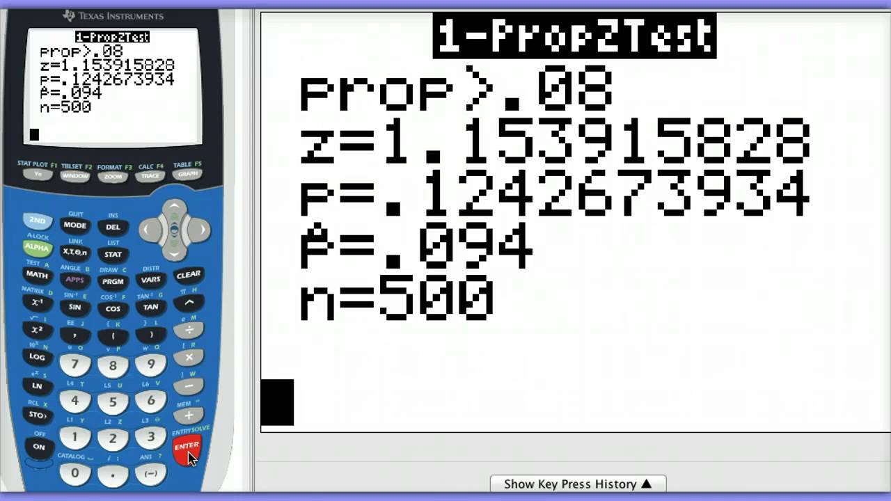 One Proportion Z Test On Calculator