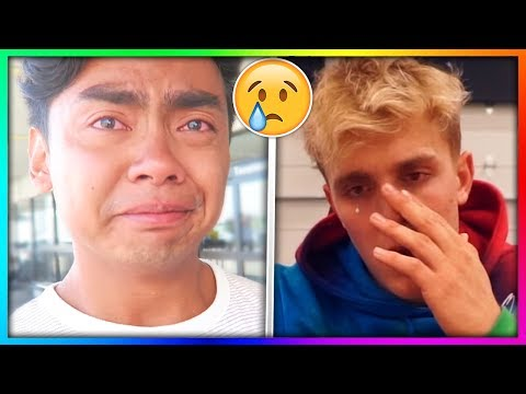 Thumbnail: 10 YouTubers Who CRIED On Camera! 😢 (Guava Juice, Jake Paul, DanTDM, jacksepticeye, Markiplier)