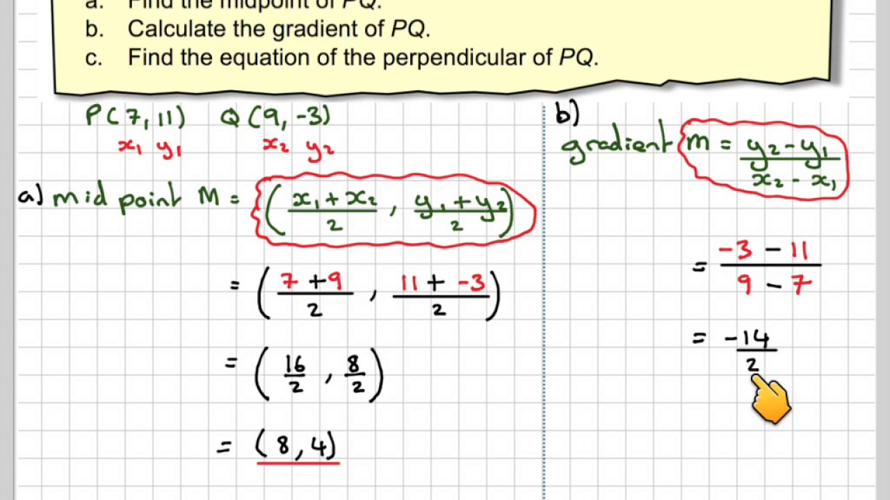 Finding the equation of the perpendicular bisector