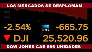 LOS MERCADOS SE DESPLOMAN EL DOW JONES CAE 666 PUNTOS
