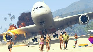"Giant plane ""Emergency Landing"" at beach make people frightened -- GTA 5 funny and crazy moments"