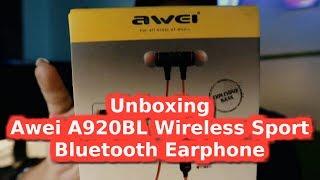 Unboxing Awei A920BL Wireless Sport Bluetooth Earphone( 2019 review)