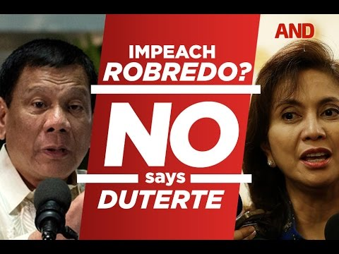 Impeach Robredo? No says Duterte