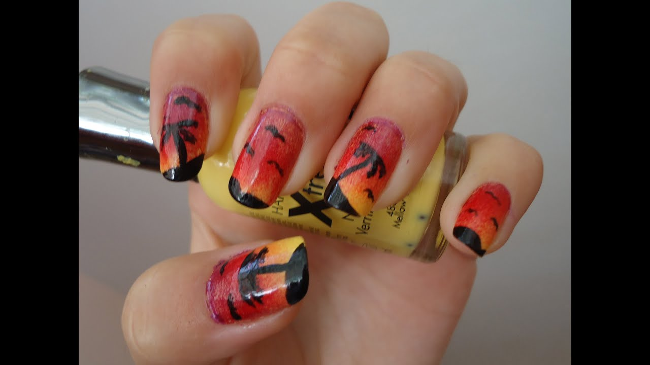 Ombre Sunset Island Nail Tutorial - YouTube