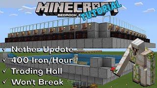Iron Farm + Villager Trading Hall | Minecraft Bedrock | Nether Update 1.16