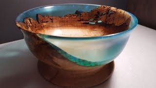 Hard Spalted Maple and Resin Bowl