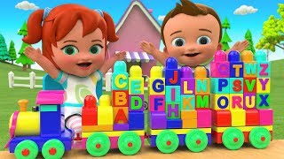 Alphabets Puzzle Blocks Train Toy Set 3D - Little Babies Fun Play Learn ABCD Song for Kids Children