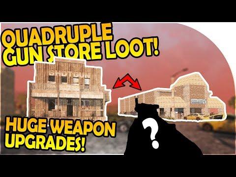 QUADRUPLE GUN STORE LOOTING - BIG WEAPON UPGRADES - 7 Days to Die Alpha 16 Gameplay Part 47