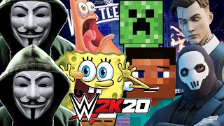 FORTNITE vs GAME MASTER vs MINECRAFT vs SPONGEBOB | WWE 2K20
