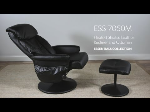 OFM ESS-7050M ESSENTIALS COLLECTION HEATED SHIATSU MASSAGE LEATHER RECLINER AND OTTOMAN