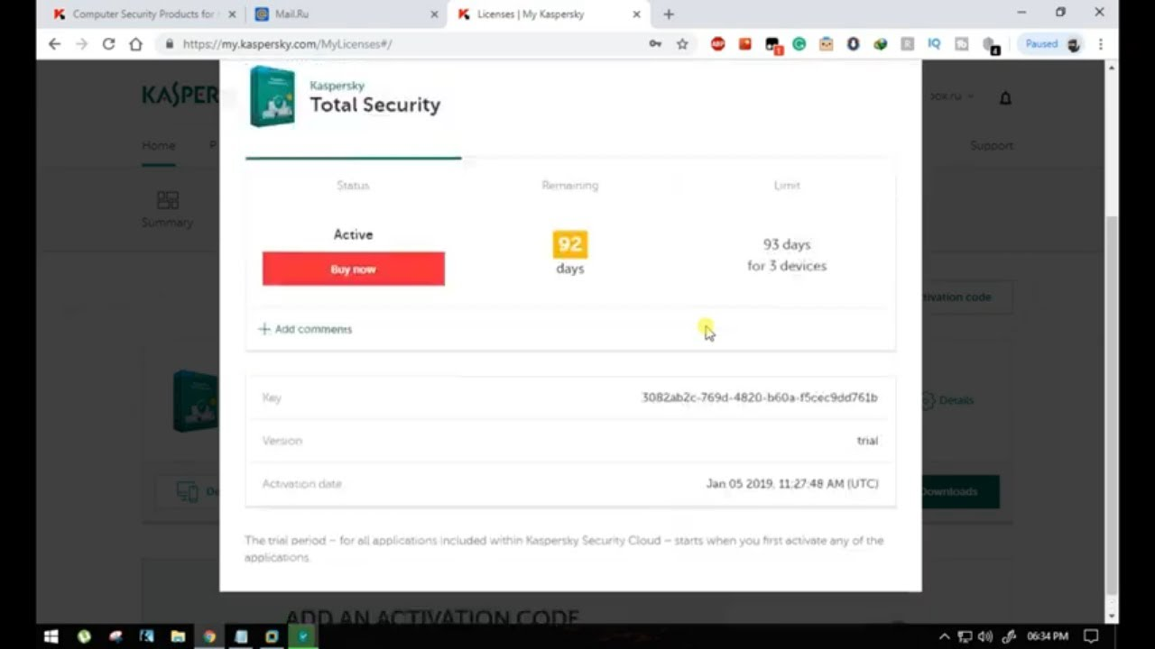 Kaspersky total security 2019 free license for  92 days / 3 Month license for 3 Devices