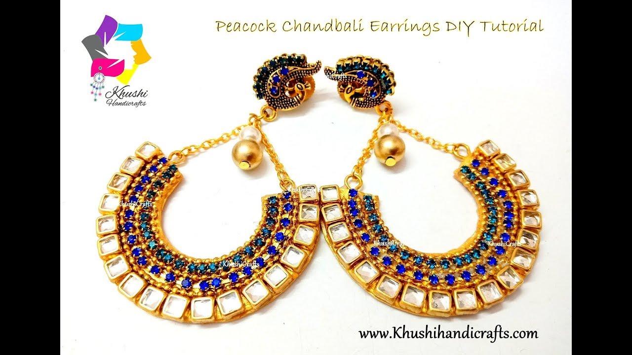Peacock Chandbali How To Make Paper Chandbali Earrings At Home