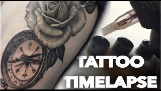 Video TATTOO TIME LAPSE / COMPASS AND ROSE / CONTINUATION OF REALISTIC THIGH PIECE / BLACK AND GREY download MP3, 3GP, MP4, WEBM, AVI, FLV Juli 2018