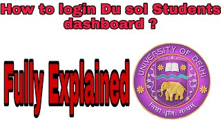 How to login du sol students dashboard || Du Sol Update 2020 Full Explained