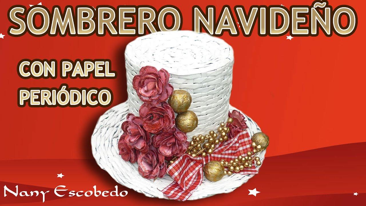 Sombrero navide o con papel peri dico christmas hat with - Adornos de navidad con papel periodico ...