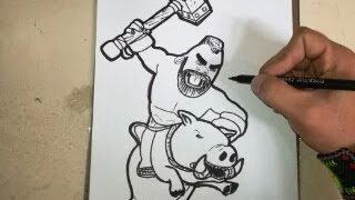 COMO DIBUJAR AL MONTAPUERCOS - CLASH ROYALE / how to draw pig push - clash royale