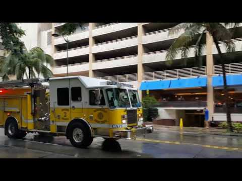 Yellow firetruck in Honolulu, Hawaii