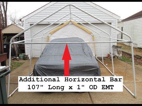 Harbor Freight Portable Garage Upgrade Reinforcing Tests - YouTube