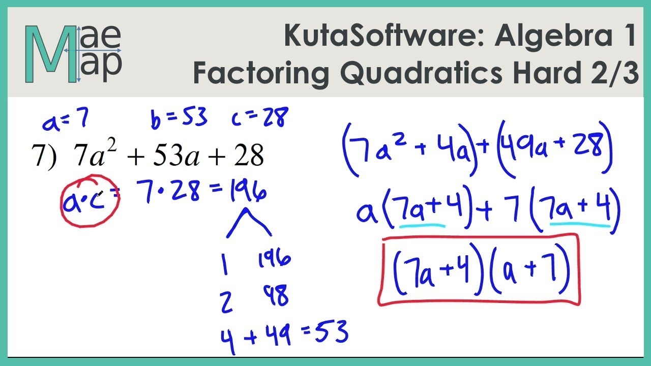 KutaSoftware: Algebra 244- Factoring Quadratics Hard Part 24 Intended For Algebra 2 Factoring Worksheet