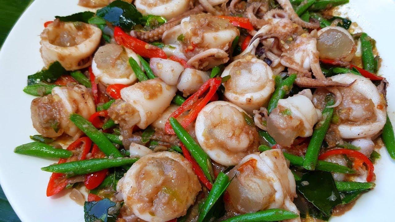 กับข้าวกับปลาโอ 617 : หมึกไข่ผัดกะปิ วิธีผัดหมึกไข่ให้สวย ไม่หลุดไม่คาว  Thai stir fried squid