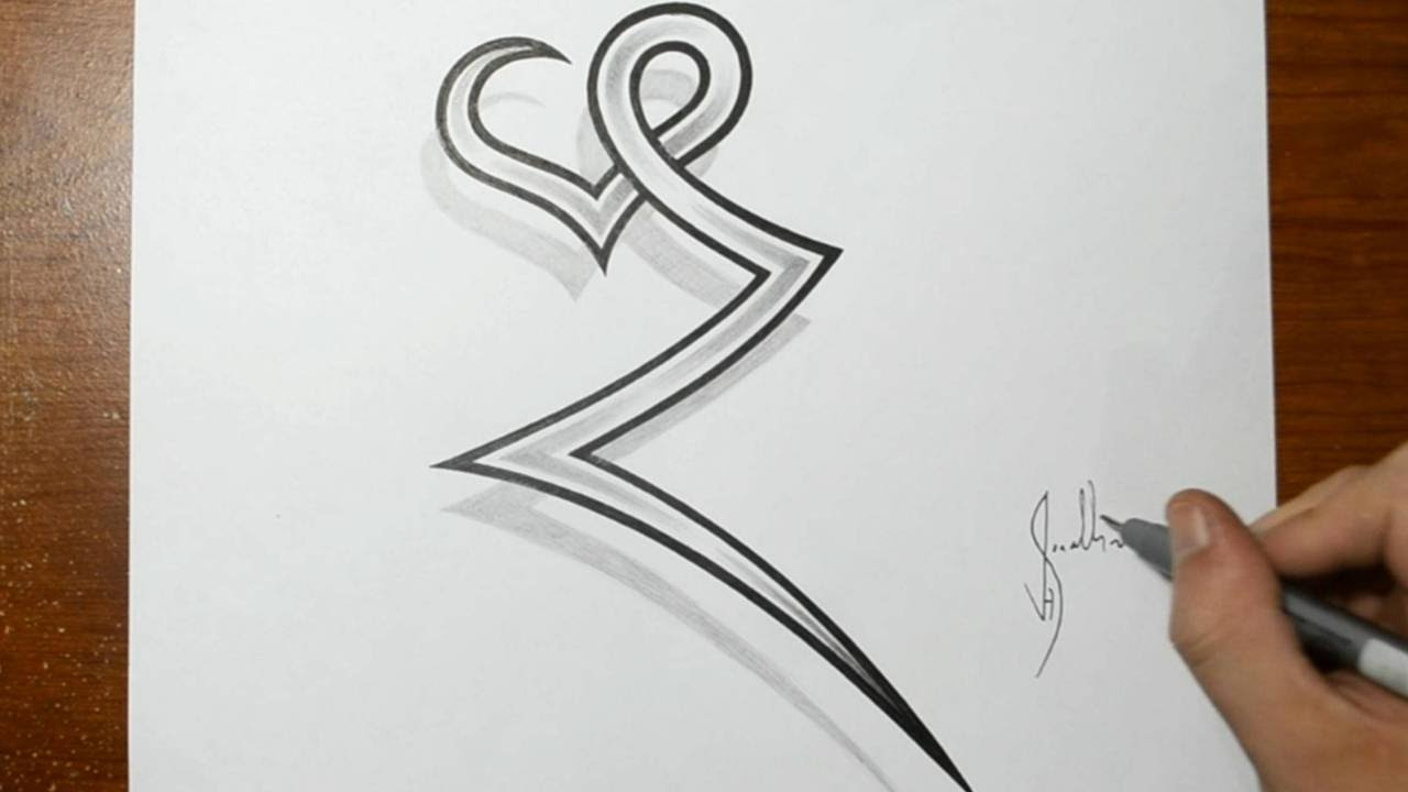 Drawing The Letter Z Combined With A Heart Tattoo Ideas Youtube