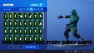 THIS ACCOUNT HAS EVERY GREEN EMOTE! (Fortnite Locker Tour)