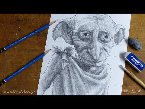 Drawing Dobby The House Elf From Harry Potter Time-lapse Overview Of The How To Draw Lesson