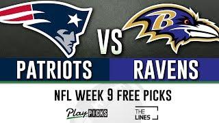 Sunday Night Football NFL Week 9 - Patriots vs Ravens | SNF Free Picks & Betting Odds